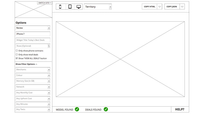 widget builder wireframes