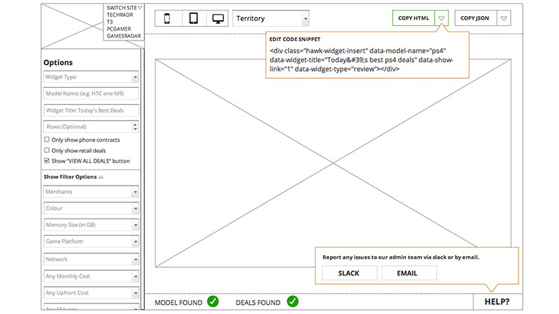 widget builder wireframes with interaction